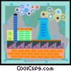 Vector Clipart graphic  of a factory with smoke stacks