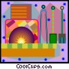 Vector Clipart picture  of a fire place and tools in