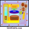 coffee maker and beans Vector Clipart graphic