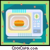 Vector Clip Art picture  of a microwave with pot