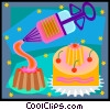 Vector Clip Art picture  of a cake and frosting dispenser