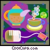 tea service with tea bag Vector Clip Art graphic