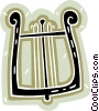 Vector Clip Art graphic  of a harp from antiquities