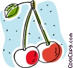 cherries, fruit Vector Clipart graphic