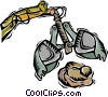 heavy equipment, dual bucket Vector Clipart illustration