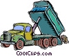Vector Clip Art graphic  of a dump truck unloading boulders