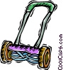 lawnmower, manual Vector Clipart image