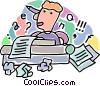 Vector Clip Art graphic  of a man writing a story