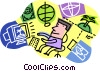 Vector Clip Art picture  of a planning a vacation online