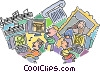 computers and fine arts Vector Clipart illustration