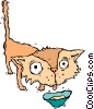 Vector Clipart image  of a cat drinking milk