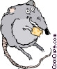Vector Clip Art graphic  of a rat eating cheese