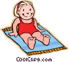 Vector Clipart image  of a girl on beach towel