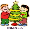 boy and girl decorating Christmas Vector Clipart illustration