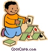 boy making house of cards Vector Clip Art picture
