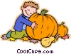 Boy in pumpkin patch, Halloween Vector Clipart image