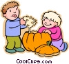 Vector Clipart graphic  of a Boys carving Halloween pumpkin