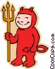 Vector Clipart illustration  of a boy in devil Halloween costume