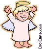 children at play, kids, girl angel Vector Clip Art image