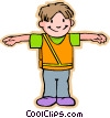 Vector Clip Art graphic  of a boy crossing guard