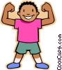 boy showing muscles Vector Clipart image