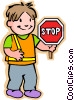 Vector Clipart graphic  of a boy crossing guard with stop