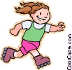Vector Clipart picture  of a girl roller skating