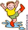 boy jumping in rain puddle Vector Clipart graphic