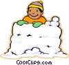 boy in snow fort, snow fight Vector Clip Art image