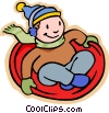 boy sliding on flying saucer, winter play Vector Clipart picture