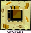 Vector Clipart graphic  of a toaster with bread