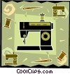sewing machine in modern frame design Vector Clipart graphic