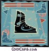 Vector Clipart graphic  of a downhill skiing equipment