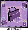 computer printer, office equipment Vector Clipart illustration