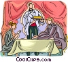 Vector Clip Art graphic  of a two people at a restaurant
