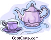 Vector Clip Art graphic  of a teapot with teacup