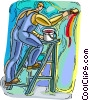 construction worker painting Vector Clip Art picture