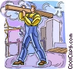 construction worker on site Vector Clipart graphic