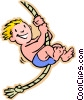 children at play, kids, swinging on rope Vector Clip Art graphic