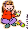 Vector Clipart graphic  of a painting Easter eggs