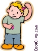 Vector Clip Art image  of a boy with gum in hair