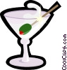 martini glass with olive Vector Clipart image