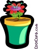 Vector Clipart picture  of a flower in pot