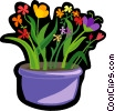colorful flowers in pot Vector Clipart graphic
