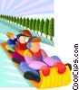 Vector Clip Art graphic  of a toboggan ride