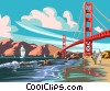 Vector Clipart illustration  of a Golden Gate Bridge