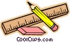 ruler, pencil and eraser Vector Clip Art image