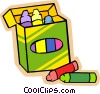 children at play, kids, box of crayons Vector Clip Art graphic