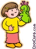 children at play, kids, girl with puppet Vector Clip Art picture