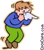 Children at play, kids, boy sneezing Vector Clipart image
